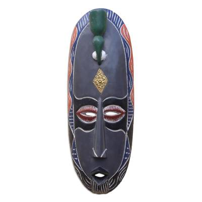 Bird-Themed African Wood Mask in Grey from Ghana