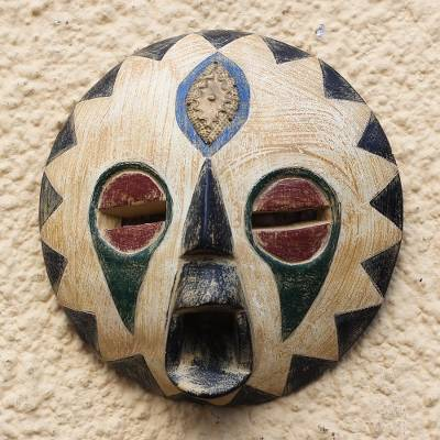 African wood mask, 'Round Ohemaa' - African Sese Wood and Brass Mask from Ghana