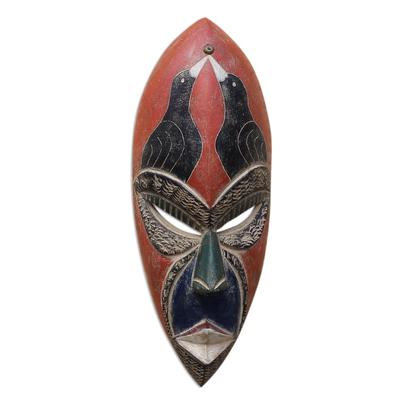 Bird-Themed African Sese Wood Mask from Ghana