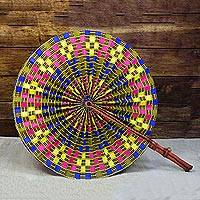 Cotton fan, 'Round Mesmerize' - Printed Round Cotton and Leather Fan from Ghana