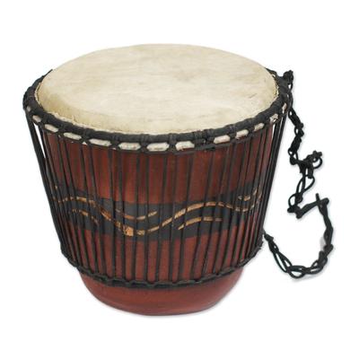 Wave Pattern Tweneboa Wood Drum from Ghana