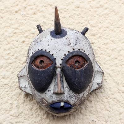 African wood mask, 'Whimsical Horn' - Handcrafted Horned African Sese Wood Mask from Ghana