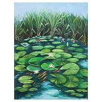 'Water Lilies' (2018) - Signed Nature-Themed Realist Painting from Ghana (2018)