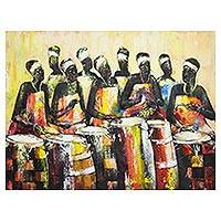 'Drum Beat' (2011) - Signed Expressionist Painting of African Drummers (2011)