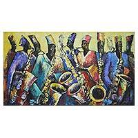 'Jazz Time' (2011) - Signed Expressionist Painting of African Saxophonists (2011)