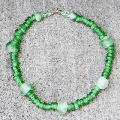 Recycled glass beaded necklace, 'Obaapa Green' - Green Recycled Glass Beaded Necklace from Ghana
