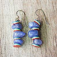 Recycled beaded dangle earrings, 'Cheerful Oasis' - Colorful Recycled Plastic and Glass Earrings