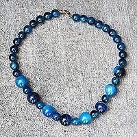 Agate beaded necklace, 'Blue Nsroma' - Blue Agate Beaded Necklace from Ghana