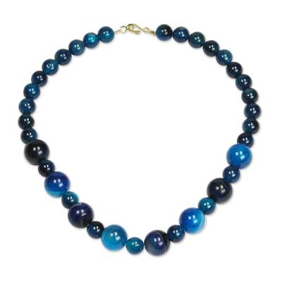 Blue Agate Beaded Necklace from Ghana
