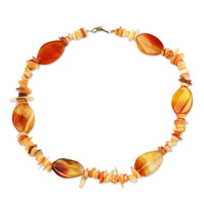 Brown Agate and Recycled Glass Beaded Necklace from Ghana
