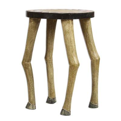 Horse-Themed Sese Wood Accent Table from Ghana