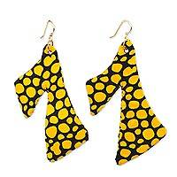 Cotton fabric dangle earrings, 'Elorm Spots' - Yellow and Black Cotton Fabric Dangle Earrings from Ghana