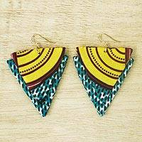 Cotton fabric dangle earrings, 'Klenam Triangles' - Triangular Cotton Fabric Dangle Earrings from Ghana