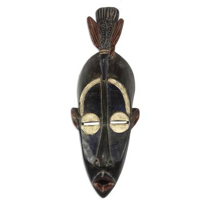 Bird-Themed African Wood Mask in Black from Ghana