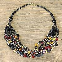 Glass beaded necklace, 'Bright Ghanaian Thank You' - Black-Red-Yellow Ghanaian Necklace of Recycled Beads
