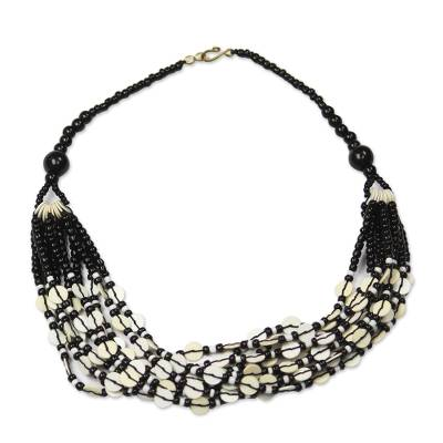 Glass beaded necklace, 'White Ghanaian Thank You' - Black and White Ghanaian Necklace of Recycled Beads