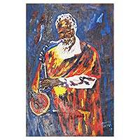 'Jazz Music I' - Signed Expressionist Painting of a Musician from Ghana