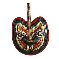African wood mask, 'Fruit of Love' - Rainbow-Colored African Wood Mask from Ghana