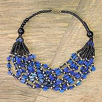 Glass beaded necklace, 'Blue Ghanaian Thank You' - Black and Blue Ghanaian Necklace of Recycled Beads