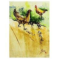 'Mother's Care' - Signed Impressionist Painting of Chickens from Ghana