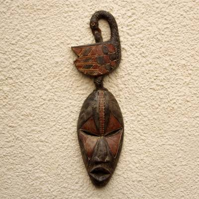 African wood mask, 'Sankofa Thoughts' - Sankofa-Themed African Wood Mask from Ghana