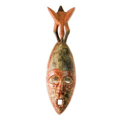 African Wood Mask with an Eagle on Top from Ghana