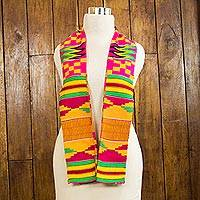 Cotton blend kente scarf, 'Fathia Elegance' (2 strips) - Two-Strip Handwoven Green and Red African Kente Scarf