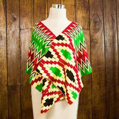 Cotton blend kente shawl, 'Akan Blessing' (3 strips) - Three Strips Handwoven Green and Red African Kente Shawl