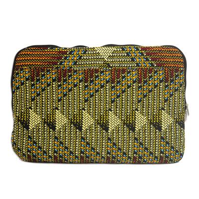 Weave Motif Printed Cotton Laptop Bag from Ghana