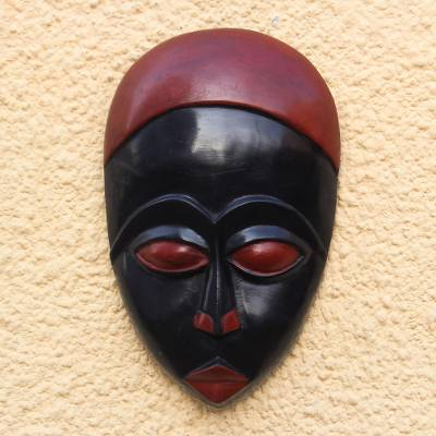 African wood mask, 'Red Eniwa' - African Wood Mask in Red and Black from Ghana