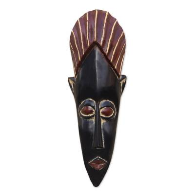 Black and Red African Wood Mask from Ghana