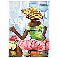 'A Food Seller in the Eastern Region' - Signed Expressionist Market Scene Painting from Ghana