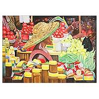 'Makola Market Day in Accra' - Colorful Expressionist Market Scene Painting from Ghana