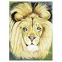 'The Humble Lion from the Jungle of Africa' - Signed Expressionist Painting of a Lion from Ghana