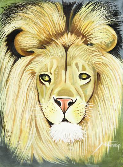 Signed Expressionist Painting of a Lion from Ghana