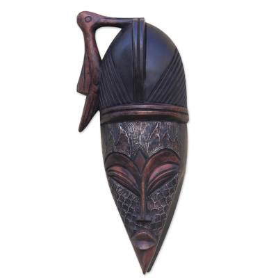 Bird-Themed African Wood and Aluminum Mask from Ghana
