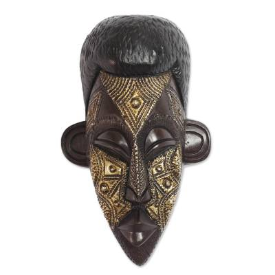 Black African Wood Mask with Aluminum Accents from Ghana