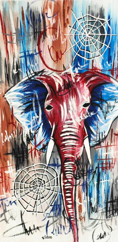 'Reflection' - Signed Freestyle Elephant Painting from Ghana