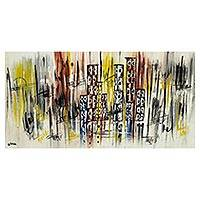 'Latter Rains' - Signed Abstract Cityscape Painting from Ghana