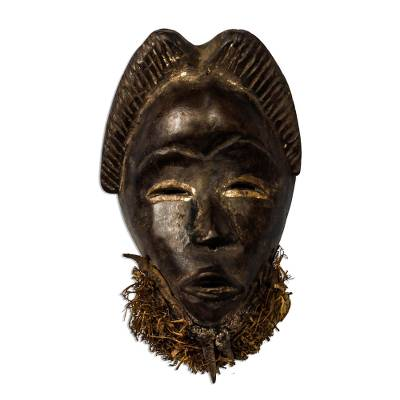 Wood mask, 'Dan Beard' - Hand Carved Dan Style African Wood Mask
