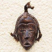 African wood mask, 'Dan Traveler' - Dan-Inspired Rustic African Wood Mask from Ghana