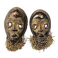 Wood masks, 'Dan Twins' (pair) - Pair of Wood Hand Carved Dan Style Wall Masks
