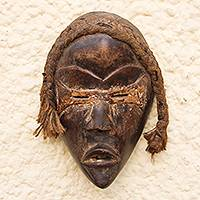 African wood mask, 'Dan Tribe' - Dan-Inspired Rustic African Wood Mask from Ghana