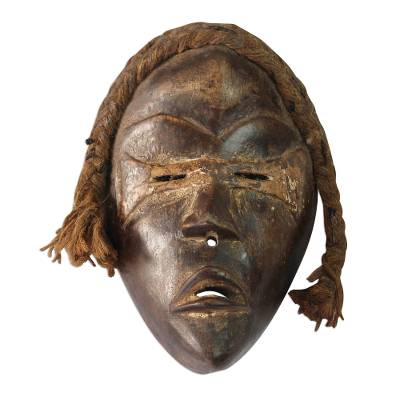 African wood mask, 'Dan Tribe' - Dan-Inspired Rustic African Wood Mask from Ghana