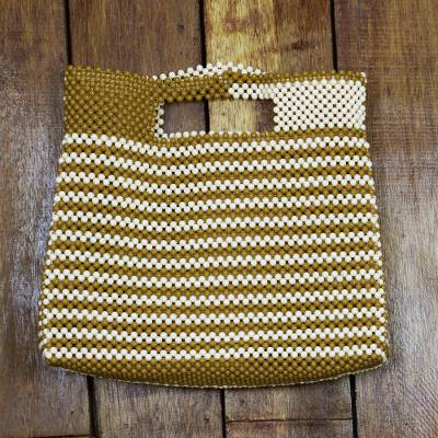 Recycled plastic beaded handle handbag, 'Spice and Almond' - Striped Recycled Plastic Beaded Handle Handbag from Ghana