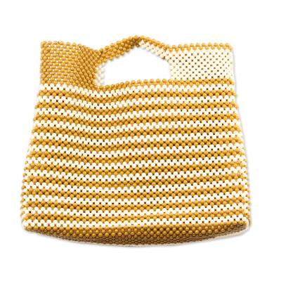 Striped Recycled Plastic Beaded Handle Handbag from Ghana