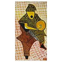 'Traditional Drummer' - Expressionist Painting of an African Drummer from Ghana