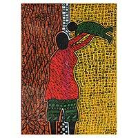 'Motherhood' - Colorful Expressionist Mother and Child Painting from Ghana