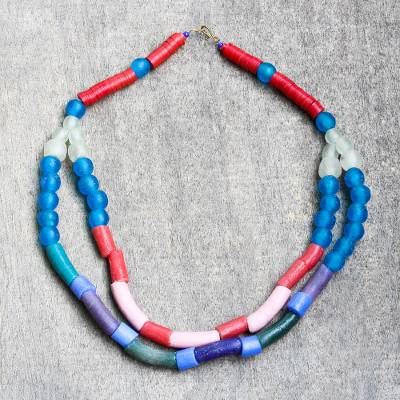 Recycled glass beaded strand necklace, 'Nuku Color' - Colorful Recycled Glass Beaded Strand Necklace from Ghana