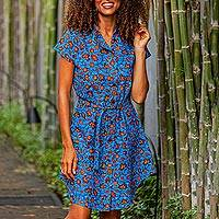 Cotton shirtwaist dress, 'Virtuous Lady' - Printed Cotton Short Sleeve Shirtwaist Dress in Azure